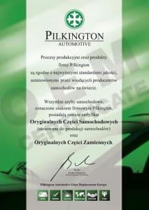 certyfikat pilkington markowe szyby samochodowe