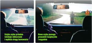Przykład jak szyba samochodowa wpływa na widoczność podczas jazdy.